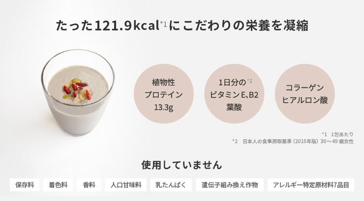 たった121.9kcal(1包)にこだわりの栄養を凝縮